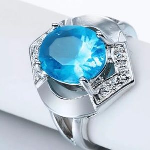 Silver Blue Stone Statement Ring